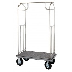 Hospitality 1 - XDBCEC-8 - 71 Steel Bellmans Cart with Gray Carpet and Chrome Finish