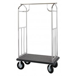 Hospitality 1 - XDBCSS-8 - 71 Stainless Steel Bellmans Cart with Gray Carpet and Polished Frame, Brushed Top Crossbar Finish