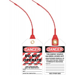 Accuform Signs - TAK641 - Loop n Lock Danger Tag, Plastic, Do Not Operate Equipment Lock Out, 5-7/8 x 3-3/8, 10 PK