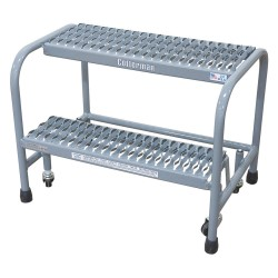 "Cotterman - 1002N2626A6E10B3C1P1 - Steel Rolling Step, 20"" Overall Height, 450 lb. Load Capacity, Number of Steps: 2"