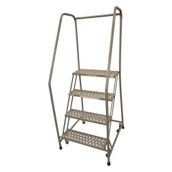 Cotterman - 1004R2630A1E10B3SSP3 - 4-Step Rolling Ladder, Expanded Metal Step Tread, 70 Overall Height, 450 lb. Load Capacity