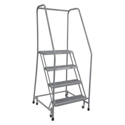 Cotterman - 1004R2630A3E10B3SSP3 - 4-Step Rolling Ladder, Serrated Step Tread, 70 Overall Height, 450 lb. Load Capacity