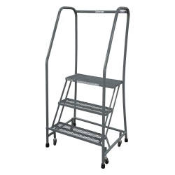 Cotterman - 1003R1820A1E10B3SSP3 - 3-Step Rolling Ladder, Expanded Metal Step Tread, 60 Overall Height, 450 lb. Load Capacity