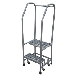 Cotterman - 1002R1818A1E10B3SSP3 - 2-Step Rolling Ladder, Expanded Metal Step Tread, 50 Overall Height, 450 lb. Load Capacity