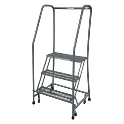 Cotterman - 1003R2630A2E10B3C1P6 - 3-Step Rolling Ladder, Rubber Mat Step Tread, 60 Overall Height, 450 lb. Load Capacity