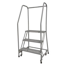 Cotterman - 1003R1820A3E10B3SSP3 - 3-Step Rolling Ladder, Serrated Step Tread, 60 Overall Height, 450 lb. Load Capacity