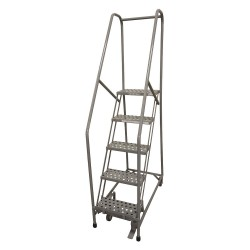 Cotterman - 1005R1820A1E10B4SSP3 - 5-Step Rolling Ladder, Expanded Metal Step Tread, 80 Overall Height, 450 lb. Load Capacity