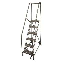 Cotterman - 1006R1824A3E10B4SSP3 - 6-Step Rolling Ladder, Serrated Step Tread, 90 Overall Height, 450 lb. Load Capacity