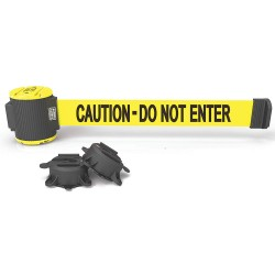 Banner Stakes - MH5002 - Magnetic Retractable Belt Barrier, Yellow, Caution - Do Not Enter