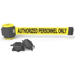 Banner Stakes - MH5003 - Magnetic Retractable Belt Barrier, Yellow, Authorized Personnel Only