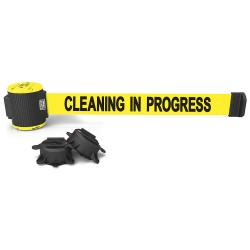 Banner Stakes - MH5004 - Magnetic Belt Barrier, Yellow, Cleaning in Progress