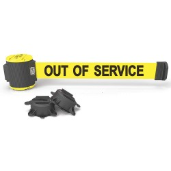 Banner Stakes - MH5005 - Magnetic Retractable Belt Barrier, Yellow, Out of Service