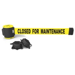 Banner Stakes - MH5006 - Retractable Belt Barrier, Yellow, Closed for Maintenance