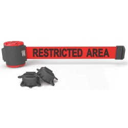 Banner Stakes - MH5008 - Magnetic Retractable Belt Barrier, Red, Restricted Area