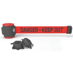 Banner Stakes - MH5009 - Magnetic Retractable Belt Barrier, Red, Danger - Keep Out