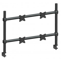 Monoprice - 5559 - Black Quad Monitor Arm, Clamp Mount, 33 lb. Each Weight Capacity