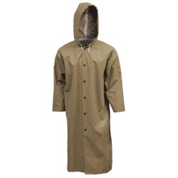 Tingley Rubber - C12148 - FR Rain Coat with Hood, S, Drab, 48 in. L