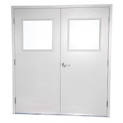 PortaFab - 6070DG - Double Door w/Glass, Steel, 84Hx72W, White