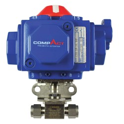 Habonim - 8-6D-C15-75K - 3/8 Double Acting Pneumatic Actuated Ball Valve, 1-Piece
