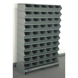 Stackbin - 3-250SSPB - 57-1/2 Steel Sectional Bin Unit with 5000 lb. Load Capacity, Gray; Number of Compartments: 50