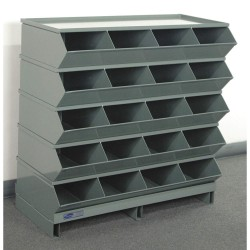 Stackbin - 3-320SSPB - 37-1/8 Steel Sectional Bin Unit with 5000 lb. Load Capacity, Gray; Number of Compartments: 20