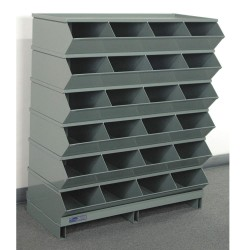 Stackbin - 3-324SSPB - 44 Steel Sectional Bin Unit with 5000 lb. Load Capacity, Gray; Number of Compartments: 24