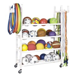 Champion Sports - PECART - 61 x 19 x 62 Plastic Physical Ed Sports Equipment Cart, White