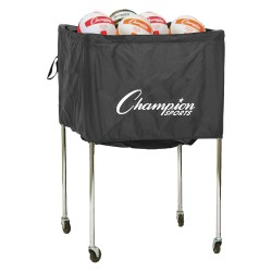 Champion Sports - VBCART - 24.5 x 24.5 x 36 Nylon Denier Ball Cart, Black Silver