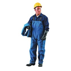 Ansell-Edmont - 66-672-L -GRA - Blue Bib Overall, Nomex , Fits Waist Size: 52, 31 Inseam, 9.0 cal./cm2 ATPV Rating
