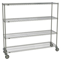 Metro (InterMetro) / Emerson - 1872NC-4 63UP-4 5MP-4 - 72L x 18W x 67-7/8H Chrome Steel Wire Cart, 900 lb. Load Capacity