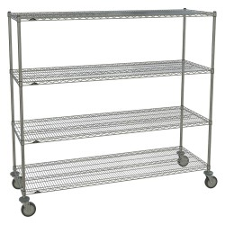 Metro (InterMetro) / Emerson - 2472NC-4 63UP-4 5MP-4 - 72L x 24W x 67-7/8H Chrome Steel Wire Cart, 900 lb. Load Capacity