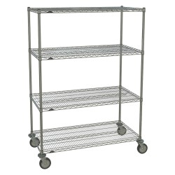Metro (InterMetro) / Emerson - 2448NC-4 63UP-4 5MP-4 - 48L x 24W x 67-7/8H Chrome Steel Wire Cart, 900 lb. Load Capacity