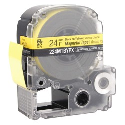 K-Sun - 224MTBYPX - Black on Yellow Magnetic Polyester Magnetic Tape Cartridge, Indoor/Outdoor Label Type, 11 ft. Length