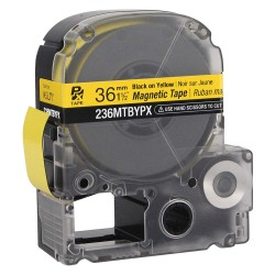 K-Sun - 236MTBYPX - Black on Yellow Magnetic Polyester Magnetic Tape Cartridge, Indoor/Outdoor Label Type, 11 ft. Length