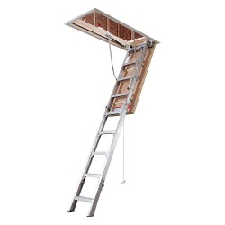 Werner - AE2210 - Attic Ladder, Aluminum, 375 lb. Load Capacity, 7 ft. 11 to 10 ft. 3 Ceiling Height Range