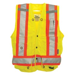 Viking - 6195AG-S - Yellow/Green with Silver Stripe Surveyor Vest, ANSI 2, Snap Closure, S