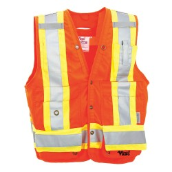 Viking - 6195AO-M - Orange/Red with Yellow/Green Stripe Surveyor Vest, ANSI 2, Snap Closure, M