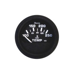 Faria Beede Instruments - GP0633 - 2 Black Aluminum Engine Temperature Gauge with 2-1/16 (53mm) Mounting Hole