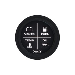 Faria Beede Instruments - GP0716 - 2 Black Aluminum Multifunction Engine Gauge with 2-1/16 (53mm) Mounting Hole