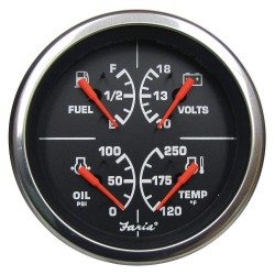 Faria Beede Instruments - GF0035 - 4 Stainless Steel Multifunction Engine Gauge with 3-3/8 (85mm) Mounting Hole