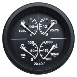 Faria Beede Instruments - GF0036 - 4 Black Aluminum Multifunction Engine Gauge with 3-3/8 (85mm) Mounting Hole