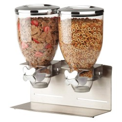 Honey-can-do - KCH-06146 - Dual Cereal Dispenser, Number of Compartments 2, 17-1/2 oz., Width 14-5/16, Height 15, Depth 6-1/2