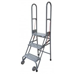Cotterman - SAS3A6E10C1P6 - 3-Step Folding Rolling Ladder, Perforated Step Tread, 60 Overall Height, 350 lb. Load Capacity