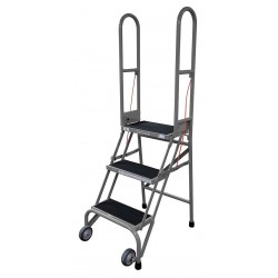 Cotterman - SAS4A2E10C1P6 - 4-Step Folding Rolling Ladder, Antislip Vinyl Step Tread, 70 Overall Height, 350 lb. Load Capacity