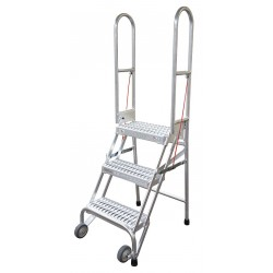 Cotterman - SAS3A3E10C1P6 - 3-Step Folding Rolling Ladder, Serrated Step Tread, 60 Overall Height, 350 lb. Load Capacity