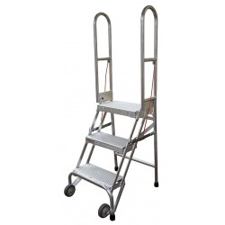 Cotterman - SASA3A10E10C50P6 - 3-Step Folding Rolling Ladder, Perforated Step Tread, 60 Overall Height, 350 lb. Load Capacity