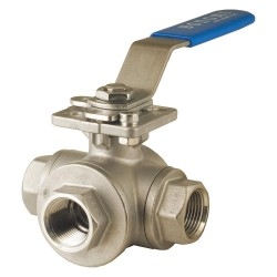 Bonomi - 966N-3/4' - 316 Stainless Steel NPT x NPT x NPT Ball Valve, Locking Lever, 3/4 Pipe Size