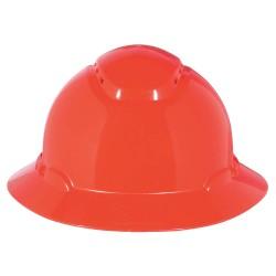 3M - H-805V - Full Brim Hard Hat, 4 pt. Ratchet Suspension, Red, Hat Size: 6-5/8 to 7-3/4