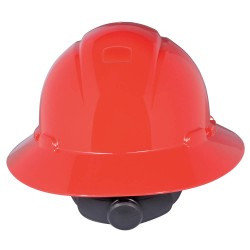 3M - H-805R-UV - Full Brim Hard Hat, 4 pt. Ratchet Suspension, Red, Hat Size: 6-5/8 to 7-3/4