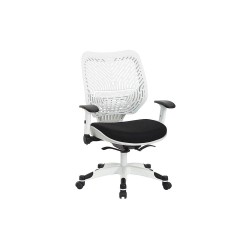 Office Star Products - 86W-2C12F2W-3M - White Plastic Desk Chair 19 Back Height, Arm Style: Adjustable